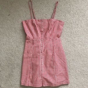 Pink and White Button Stripe Dress